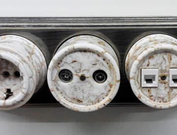 Ретро розетки и выключатели в интерьере