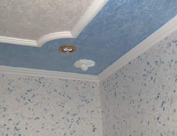Отделка потолка с использованием жидких обоев